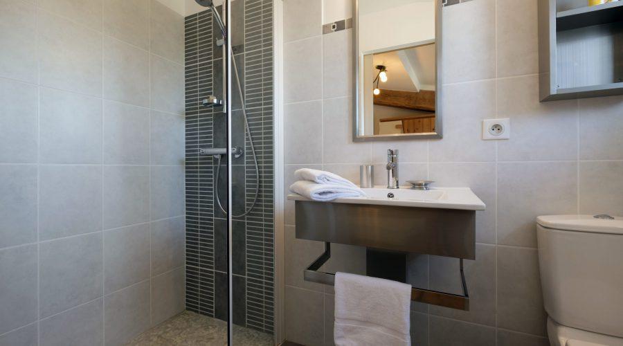 Salle de bain - une lavabo, douche, toilettes
